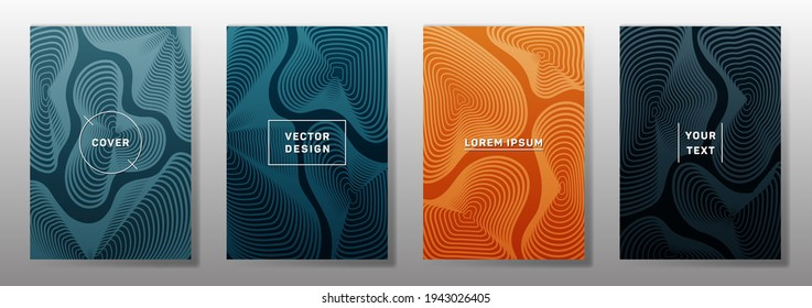 Curve topography lines imitation minimal vector covers set. Geography magazine front pages abstract topographic map lines design. Curve texture fluid shapes backdrops. Halftone brochure templates.