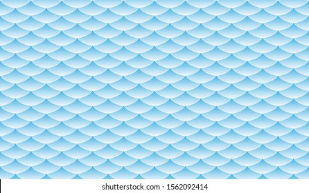 Curve Wave Fish Scale Pattern Background in Summer Sky Navy Blue gradient vector illustration.