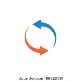 Curved Arrow sign rotation icon reload symbol. Reload sign, direction button icon. Rotation, refresh, reset,  repeat arows sign pictogram