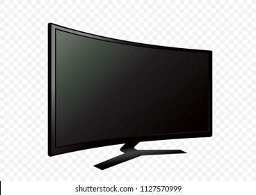 Curved black 3D TV on white transparent background. Television LED display screen. Flat media technology eletronic equipment. LCD computer monitor