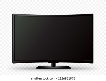 Curved black wall TV on holder with shadow on white transparent background. Television LED display screen. Flat media technology eletronic equipment. LCD computer monitor