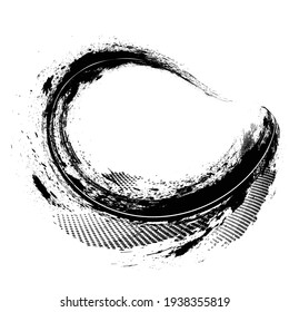Curved Brush Stroke . Vector Logo Design Template . Twirl Grunge Shapes . Trace of mascara.