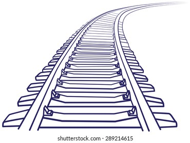 Curved endless Train track. Sketch of Curved Train track. Outlines.