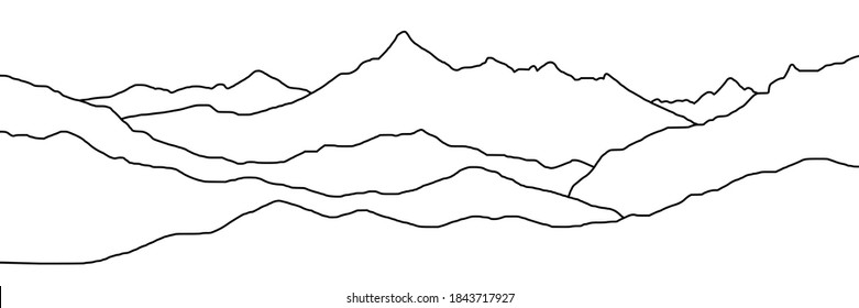 Curved lines, imitation of mountain ranges. Vector background, minimalism.