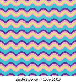 Curved Lines Pattern Seamless Vector Pattern. Wavy Stripes Texture Illustration for Trendy Home Decor, Rainbow Fashion Prints, Retro Wallpaper, Patterned Textiles. 1970's Style Gift Wrap Background.