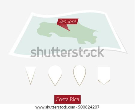 Curved Paper Map Costa Rica Capital Stock Vector (Royalty Free ... on