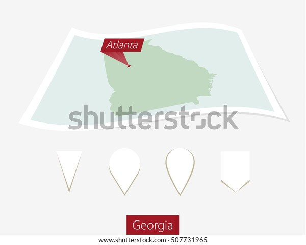 Map Of Georgia With Capital.Curved Paper Map Georgia State Capital Stock Vector Royalty Free