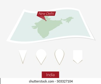 Curved paper map of India with capital New Delhi on Gray Background. Four different Map pin set. Vector Illustration.