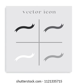 Curved ribbon flat black and white vector icon.