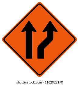 Curved Right Or Go Straight Traffic Road Sign, Vector Illustration, Isolate On White Background Icon. EPS10h