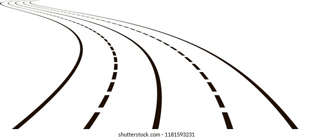 Curved road. Black and white vector illustration