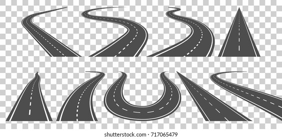 Curved road going to the distance isolated on transparent background. Set of vector asphalted highways with white lines. Transport design element.