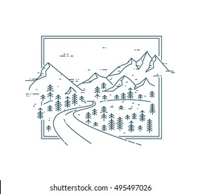 Curved road  in mountain range among the trees. Vector Flat line illustration. Nature exploration card.