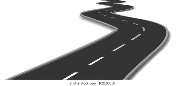 Curved road. Vector