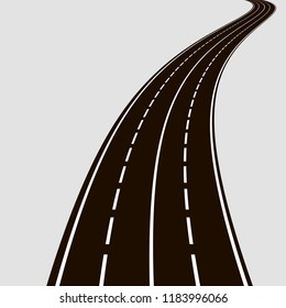Curved road with white lines. Black and white vector illustration. Perspective of road
