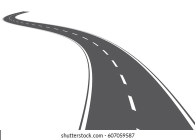 Curved road with white lines. Black and white Vector illustration. Road isolated on white background