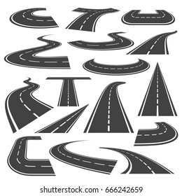 Curved roads icon set. Winding branch of highway, change of direction, geometric roadway design for safe driving. Vector flat style cartoon illustration isolated on white background