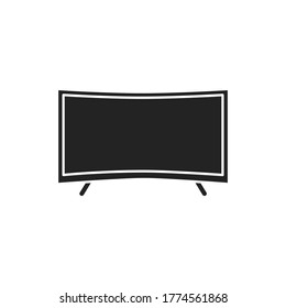 Curved screen black glyph icon. Type of tv screen. Allowing a wider field of view. Pictogram for web page, mobile app, promo. UI UX GUI design element.