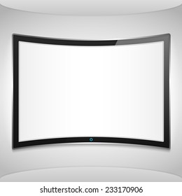 Curved screen on the wall, vector eps10 illustration