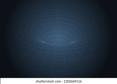 Curved spacetime caused by gravity of blackhole. Vector illustration.
