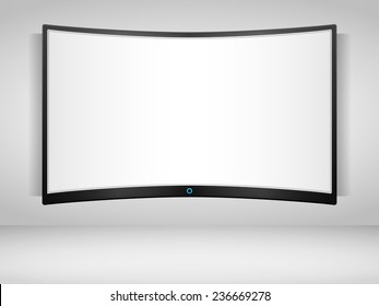 Curved TV screen on the wall, vector eps10 illustration