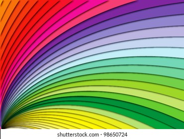 Curving rainbow stairs, spectrum vector