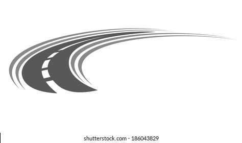 Curving tarred road or highway icon logo with center markings with diminishing perspective to infinity, cartoon illustration isolated on white