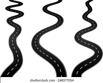 Curvy asphalt roads, with lanes separated with middle white dashed line, in perspective view