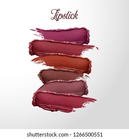Curvy lipstick smear set, smoothly smudged. Makeup sample, use for advertising flyer, banner, brochure and booklet. Vector make up beauty illustration. Creamy lipsrick product sample
