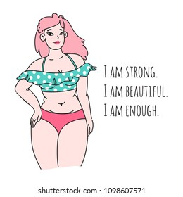 Curvy plus size beautiful girl in bikini or swimsuit. Happy bodypositive concept. Pin up style. For fat acceptance movement, no fatphobia, girl power