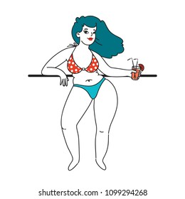 Curvy plus size beautiful girl with drink in bikini or swimsuit. Happy bodypositive concept. Pin up style. For fat acceptance movement, no fatphobia, girl power