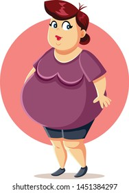 Curvy Plus Size Overweight Woman Vector Cartoon. Obese self-confident lady sharing body positive message
