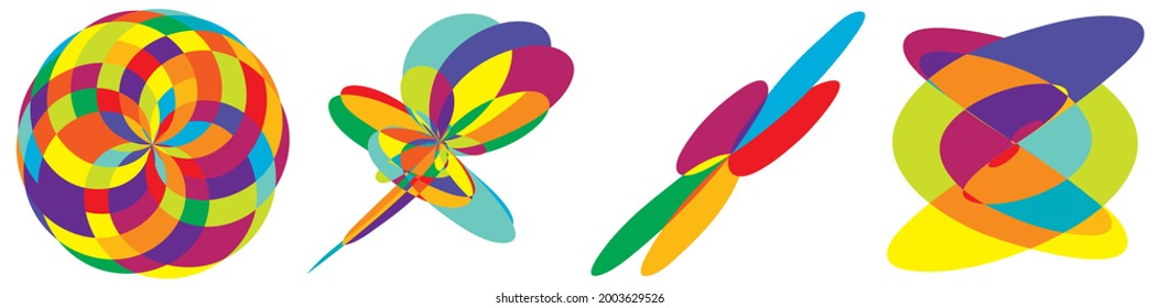 Curvy random vibrant colourful abstract shapes, design elements set. Jumble, kaleidoscope effect vector illustration set