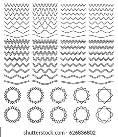 Curvy waves and zigzag striped lines and round jagged frames vector set