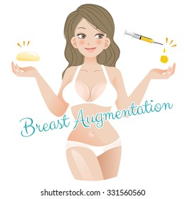 Curvy Woman Breast Augmentation Concept with silicon and fatgraft