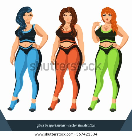 c7ca6d01166 Curvy women in sportswear. Plus size girls models in yoga pants and sports  bra. Vector illustration isolated on the white background. - Vector