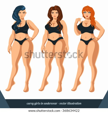 59a23b4236d Royalty-free stock vector images ID  368634422. Curvy women in underwear. Plus  size models in lingerie. Vector illustration. - Vector