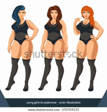 3b439aa85 Curvy women in underwear. Plus size models in lingerie. Vector illustration.
