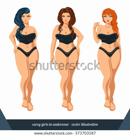 cfd8757e8f9 Royalty-free stock vector images ID  373703587. Curvy women in underwear. Plus  size models in lingerie. Vector illustration. - Vector