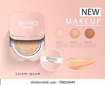 Cushion Compact foundation ads, attractive makeup essential product with texture isolated on glitter background, 3d illustration, square