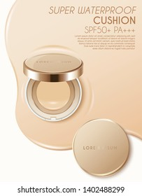 Cushion compact foundation advertising template :Vector Illustration
