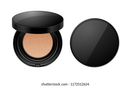 Cushion face foundation case. Compact powder black plastik package in 3d vector realistic style isolated on white background. Mockup for branding and ads. Top view on opened and closed plastic box.