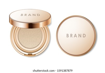 Cushion face foundation case. Compact powder golden package. 3d vector realistic cosmetics isolated on white background. Mockup for branding and ads. Top view on opened and closed plastic box.