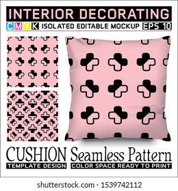 Cushion mockup & seamless pattern. Black  plus sign, or positive symbol on pink background. CMYK mode ready to print. Interior decorating. Isolated & editable. This pattern can also used for other.