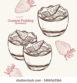 Custard pudding with strawberry in glass. Hand draw sketch vector. Dessert