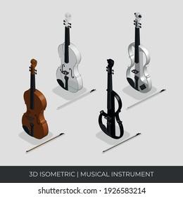 Custom 3D Isometric Violin Vector Set