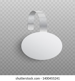Custom advertising wobbler of oval shape mockup in realistic style - vector illustration of promotion pointing dangler for supermarket sale announcement isolated on transparent background.