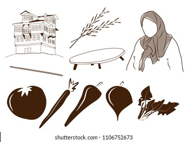 Custom Anatolian vector set: traditional Turkish house, ear of grain, wooden floor table, anatolian woman with headscarf, rolling pin, tomato, carrot, pepper, red cabbage, spinach.