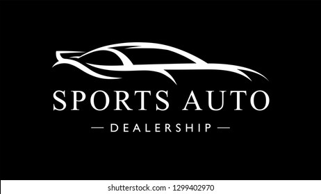 Custom auto sports car dealership logo. Motor vehicle silhouette super car design. Vector illustration.