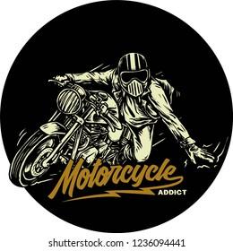 custom bike motorcycle with rider